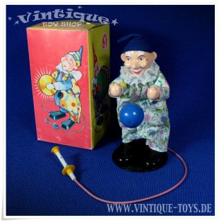 Funktionsfigur CLOWN mit Ball, VEB Sonni (Sonneberg / DDR), ca.1970
