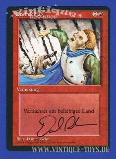 MAGIC THE GATHERING vom Illustrator Daniel Gelon signierte Einzelkarte STEINSCHLAG aus DIE ZUSAMMENKUNFT limitierte Revised Edition Deutsch, Wizard of the Coast, 1994