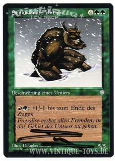 MAGIC THE GATHERING vom Illustrator Douglas Shuler signierte Einzelkarte SCHLURFENDES UNTIER aus EISZEIT Edition Deutsch, Wizard of the Coast, 1996