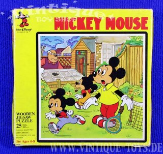 MICKY MAUS No.53 MICKY SPIELT TENNIS Wooden Picture Jigsaw Puzzle, Michael Stanfield Products / England, ca.1970