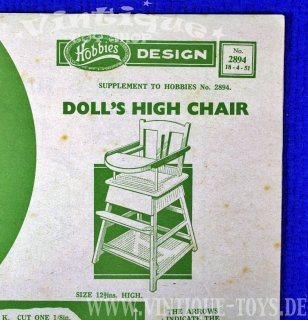 Bastelvorlage DOLLS HIGH CHAIR, Hobbies Weekly Magazine (GB), 1951