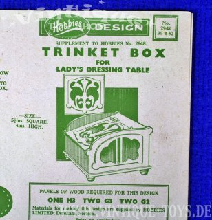 Bastelvorlage TRINKET BOX, Hobbies Weekly Magazine (GB), 1952