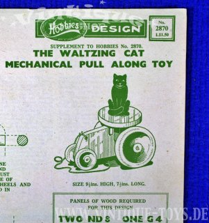Bastelvorlage THE WALTZING CAT PULL-ALONG TOY, Hobbies Weekly Magazine (GB), 1950